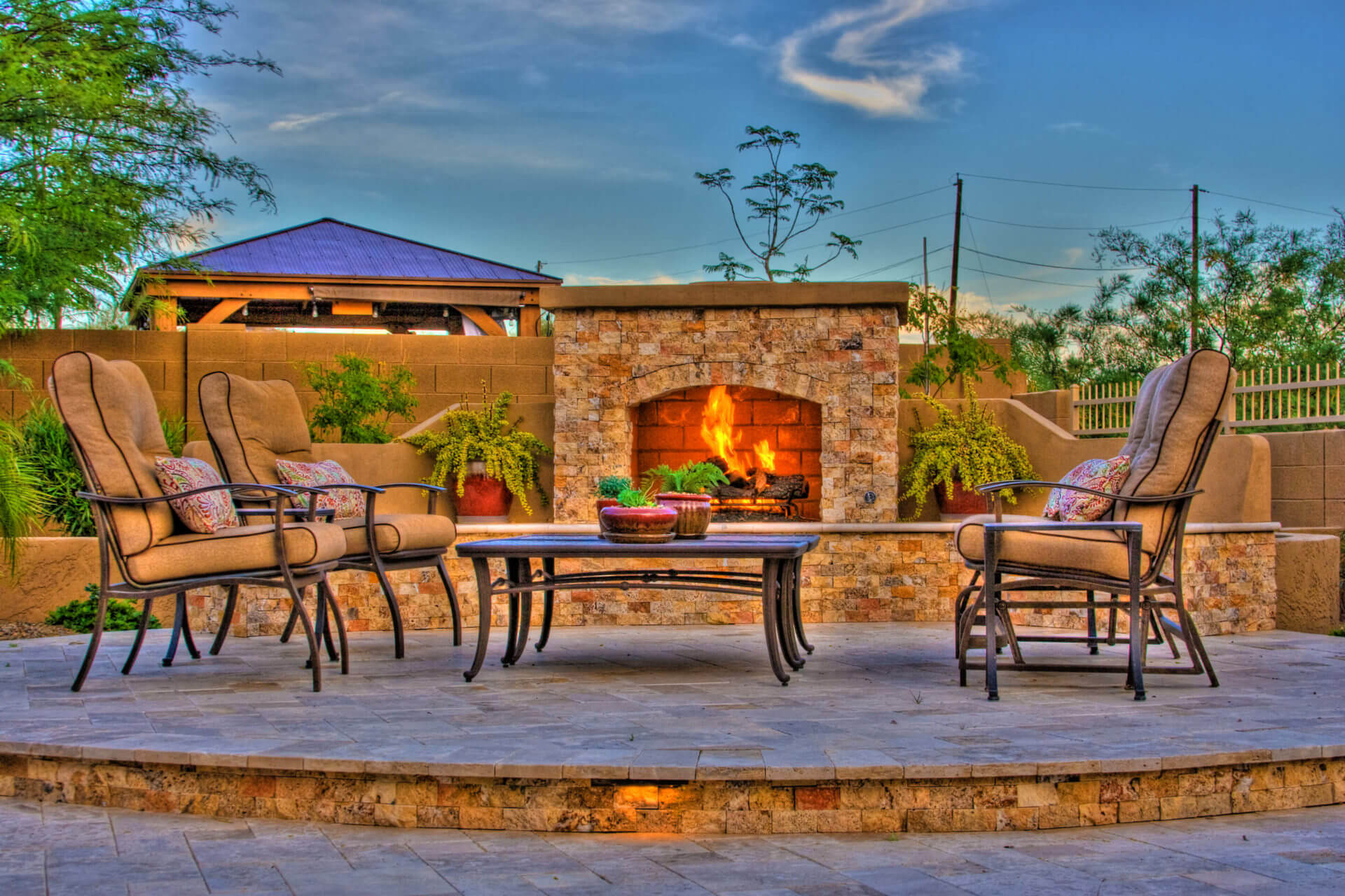 outdoor fireplace with roof