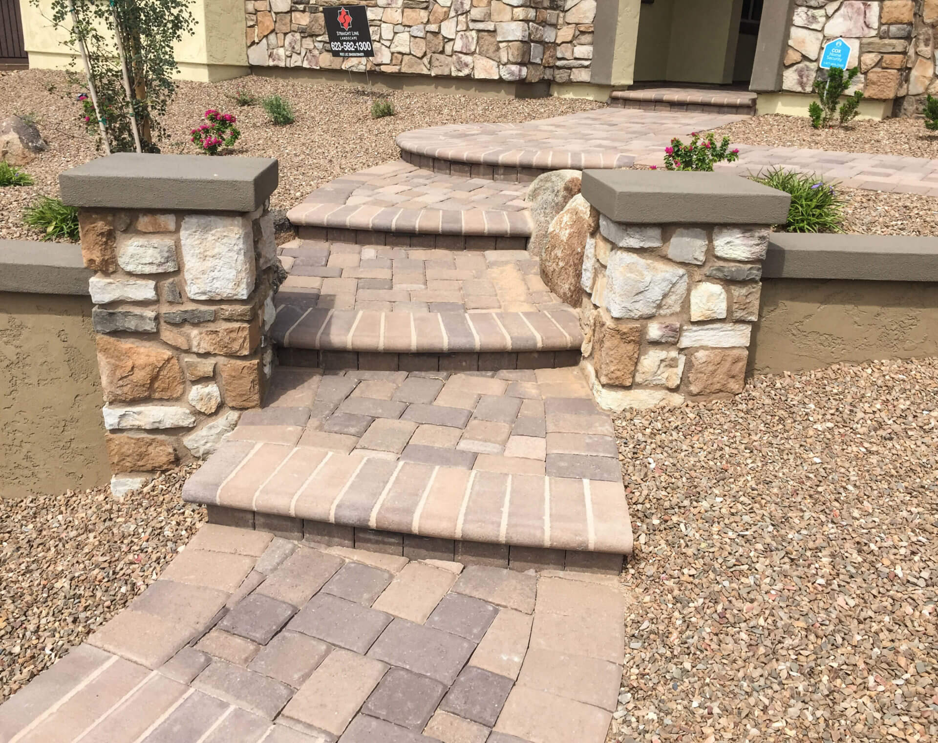 raised patio and steps