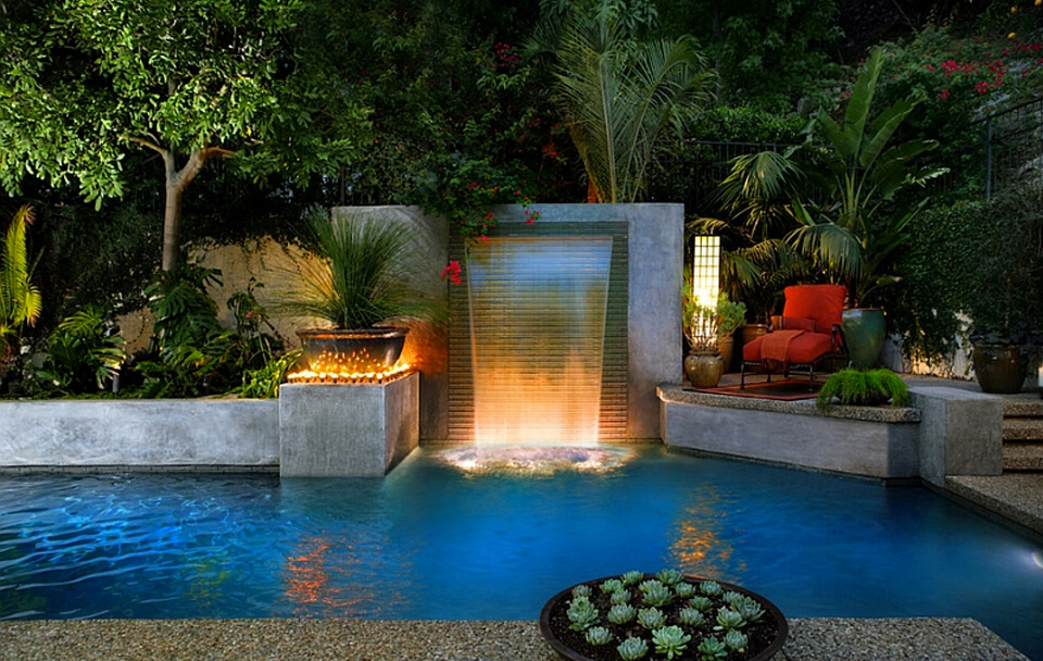 swimming pool design with fountain