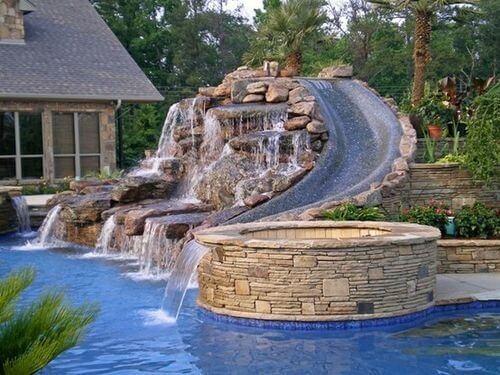 custom pool ideas with slide