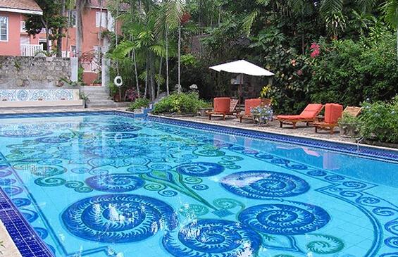 geometric pool design with custom tiles