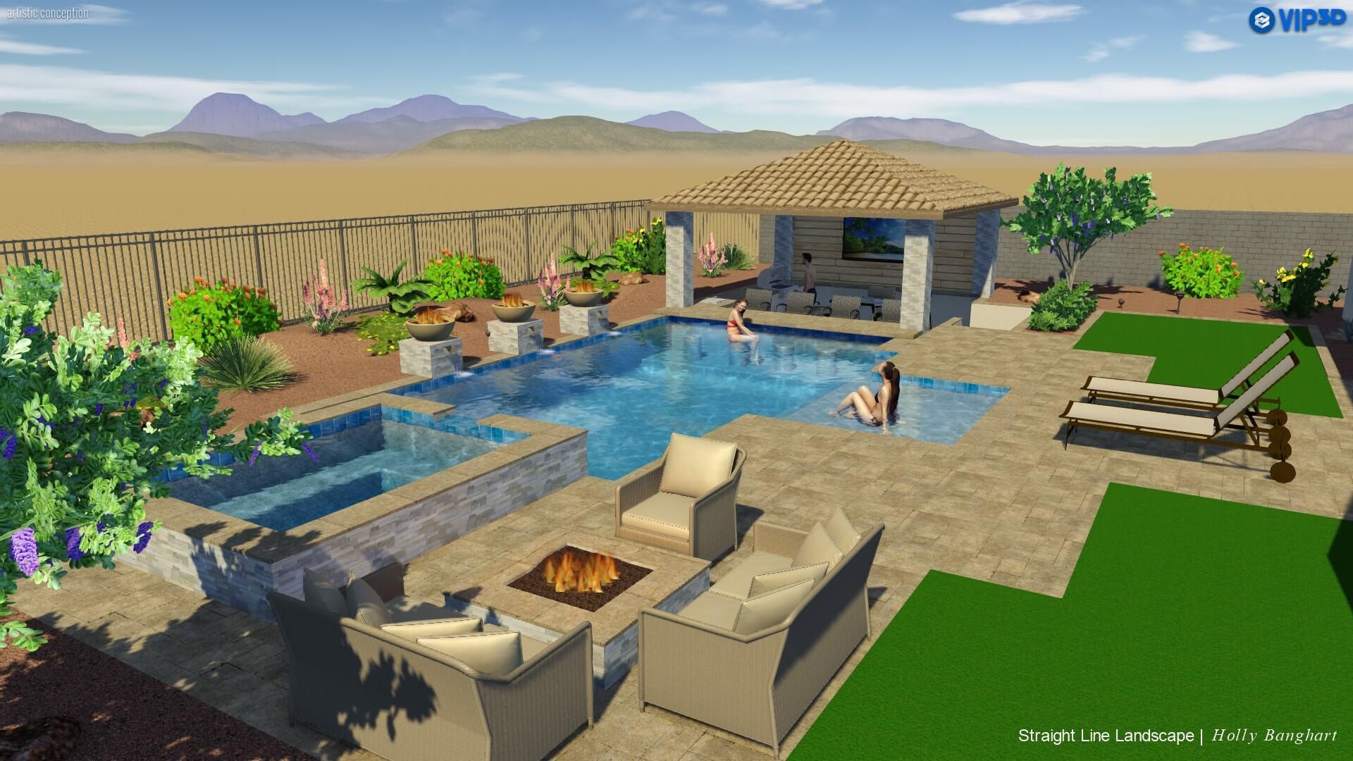 Image of: 5 Pool Landscape Pool Feature Ideas For Phoenix Az
