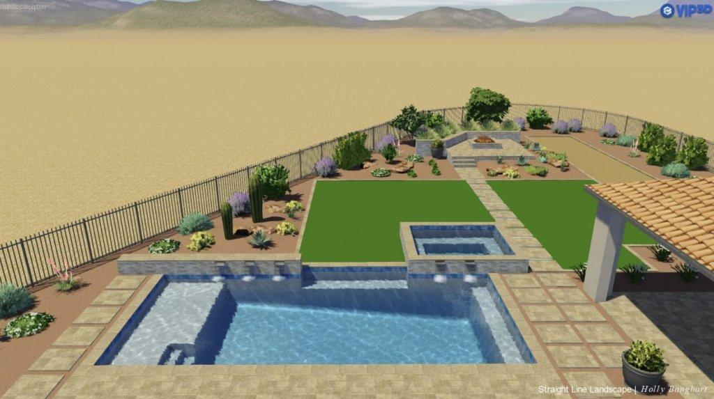 phoenix landscape planning render with pool